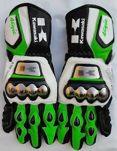 Kawasaki Motorbike MotoGP Racing Leather Gloves  All Sizes Available