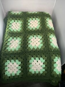Handmade Crocheted Afghan 51x74 Approx Granny Square Green Retro Looking