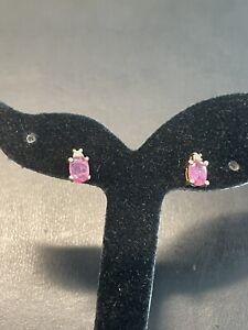 14KT Yellow Gold 1CTW Pink Tourmaline & Diamonds Stud Earring