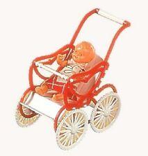Puppenwagen Plastik Sportwagen mit Püppchen fürs Puppenhaus Schwenk 27131