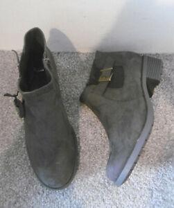 Evans Grey Suedette BERTIE Buckle Detail Ankle Boots Size UK 7 EU 40 EEE