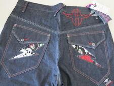 Hypnotx Espina Pantalón Índigo Raw Denim Jeans para hombre de hip hop rap 38 Nuevo Raro Negro