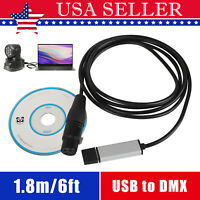 USB to DMX Interface Adapter DMX512 Stage Light Controller Cable For Computer PC