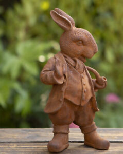 Mr Rabbit Rusted Cold Cast Iron Garden Ornament 28cm High 1.8kg