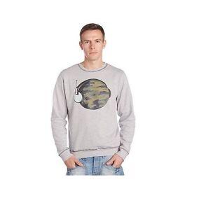 "Mens HUMOR Sweater Jumper ""Rex"" Sweatshirt Music Globe Cotton Top Camo  - GREY"