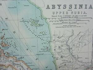 1910 MAP ~ ABYSSINIA UPPER NUBIA HABESH TIGRE AMHARA