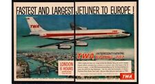 1959 TWA Airlines - BOEING 707 Jetliner - Largest Jetliner - 2 Pg  VINTAGE AD