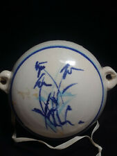 Modern Stoneware Pottery Round with 7 Holes Wall Pocket, signed by artist 1989
