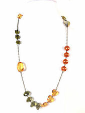 Brown Beaded Necklace Unique (St100) Ladies Chunky Unique Multi Layer Orange