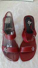 Life Stride red leather sandals size 7-1/2 7.5 New in box