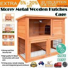 i.Pet Rabbit Hutch Wooden Chicken Coop Guinea Pig Cage House 2 Storey Run 93cm