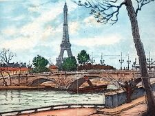 Paris Seine and Eiffel Tower Tile Mural Kitchen Wall Backsplash Ceramic 17x12.75