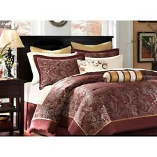 Comforter Sheet Set Bed In A Bag Maroon Gold Multi 12 Piece w Pillows King Size