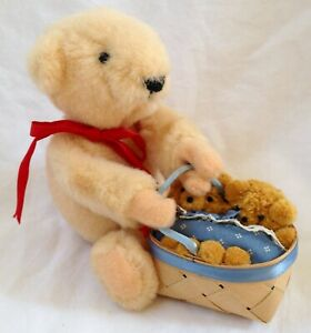 """Vintage1982 North American Bear Co. 6"""" Plush Message Bear with Babies in Basket"""