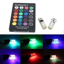 T10 W5W 5050 12SMD RGB LED Remote Control Multi Color Light Car Wedge Bulbs XG