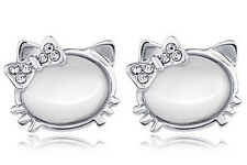 Cute White Opal Imitation Silver Plated Bow Knot Kitty Studs Earrings E393