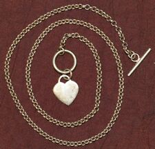 STYLISH 925 SILVER SECOND HAND NECKLACE CHAIN WITH DESIGNER HEART 46CM LONG