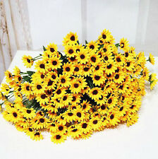 Silk Flower Fake Sunflower 14 Head Artificial Bouquet Wedding Home Floral Decor