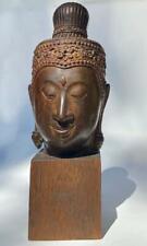 Antique Buddha Head Bust Bun Finial Cast Bronze Sculpture Old Thai Art Fragment