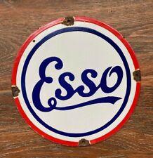 """Vintage """"Esso"""" Porcelain Enamel Pump Plate Sign 11 3/4"""""""