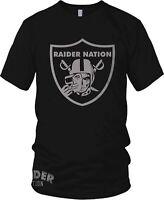 Raiders Raider Nation Skull T-Shirt Black & Silver (New) Oakland Edition
