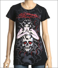 ED Hardy Womens spider Web Woman Skull Black T Shirt Medium