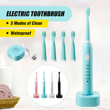 Sonic Electric Toothbrush Teeth Care 5 Modes USB Rechargeable Timer With 4 Heads