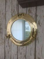 "8"" Brass Porthole Mirror Nautical Maritime Wall Decor Ship Cabin Window Mirror"