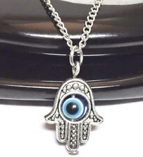 """HAMSA EVIL EYE_Small Pendant on 18"""" Chain Necklace_Luck Protection Fatimah_179N"""
