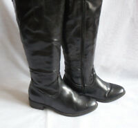 WOMENS BLACK ZIP SYNTHETIC UPPER CALF RIDING  BOOTS SIZE:4/37(WB1324)