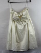 May Queen Knee Tea Length Strapless Sweetheart Cream Yellow Wedding Dress Sz 14