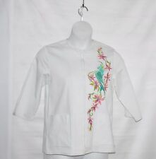 Bob Mackie Exotic Bird Embroidered Jacket Size S White