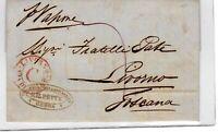 """1858 da Genova a Livorno - col raro annullo """"Livorno via di mare C"""" -"""