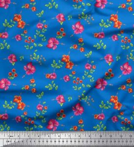 Soimoi Cotton Poplin Fabric Leaves & Floral Print Fabric by the-eJw