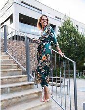 Bnwt Longue Zara kimono vert imprimé floral Robe Portefeuille Taille M UK 10 ref 5410/301