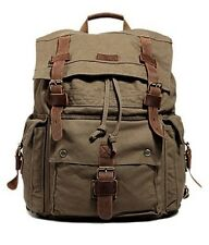 Men Canvas Leather Backpack Laptop 15