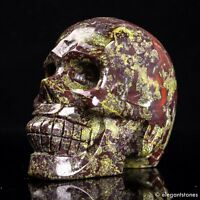 690g Large Natural Dragon Blood Stone Quartz Crystal Hand Carved Skull Healing
