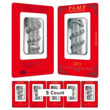 Lot of 5 - 1 oz PAMP Suisse Year of the Snake Silver Bar (In Assay)