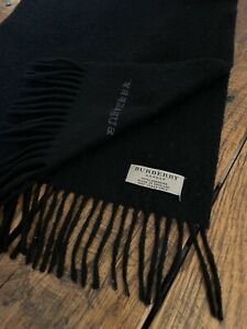 100% Cashmere Black BURBERRY London Logo Winter Fringe Scarf Mens Womens