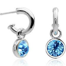 White Gold finish blue half hoop stud earrings quality jewellery UK