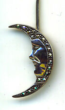 "925 Sterling Silver Man in the Moon Marcasite 5.1/4"" Twist Hair Hat Pin 'Rare'"