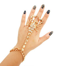 Glam Gold Scorpion Bracelet Hand Chain Stretch Ring By Rocks Boutique