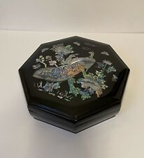 Vintage Korean Snack Box 9 Pc Black Lacquer Wood Peacock Mother Of Pearl Inlay