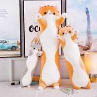 "Cartoon Plush Toy Stuffed Doll Yellow Color Long Cat Pillow Size 130cm/51"""