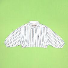 VINTAGE 90s Designer White Blue Stripe Timberland Crop Reworked Top Shirt XL 20