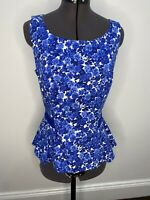Review Blue Floral Peplum Top Size 10 EUC Corporate Casual Party Retro