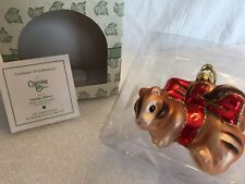 """Charming Tails """"Holiday Ribbon"""" Mouse Glass Christmas Ornament"""