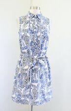 Banana Republic Blue White Paisley Floral Print Tie Waist Shift Shirt Dress Sz 2