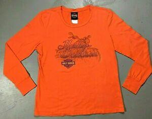 Harley Davidson Women's Graphic Orange Long Sleeve Shirt Sz XL Leesburg, Florida