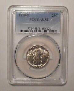 1918-S Standing Liberty silver Quarter 25c PCGS AU-58 brilliant AU58 1918S